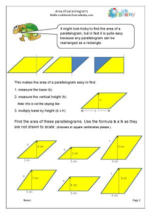 Area of a parallelogram worksheet