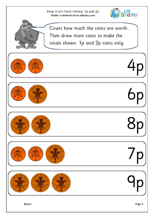 Adding money worksheets ks1