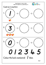 Count on with a number line - balls