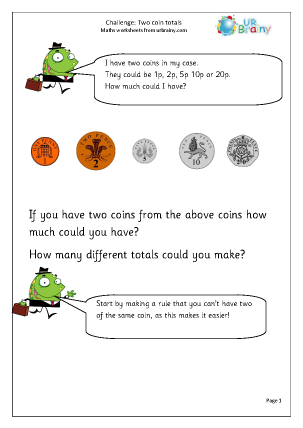 Preview of worksheet Two coin challenge