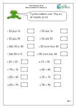 math worksheet : add multiples of 10 addition maths worksheets for year 2 age 6 7  : Multiples Of 10 Worksheets
