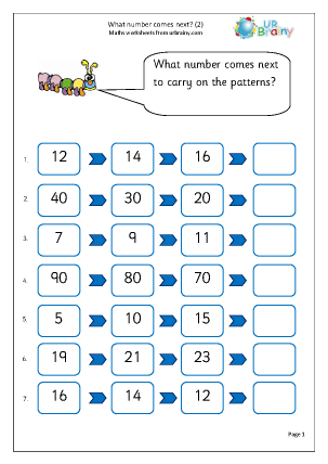 Preview of worksheet What number comes next (2)