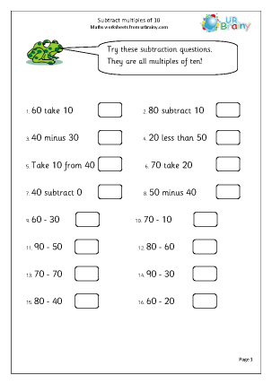 Subtraction Maths Worksheets for Year 2 (age 6-7)Subtract multiples of ten