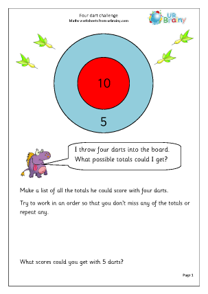 Preview of worksheet Four dart challenge