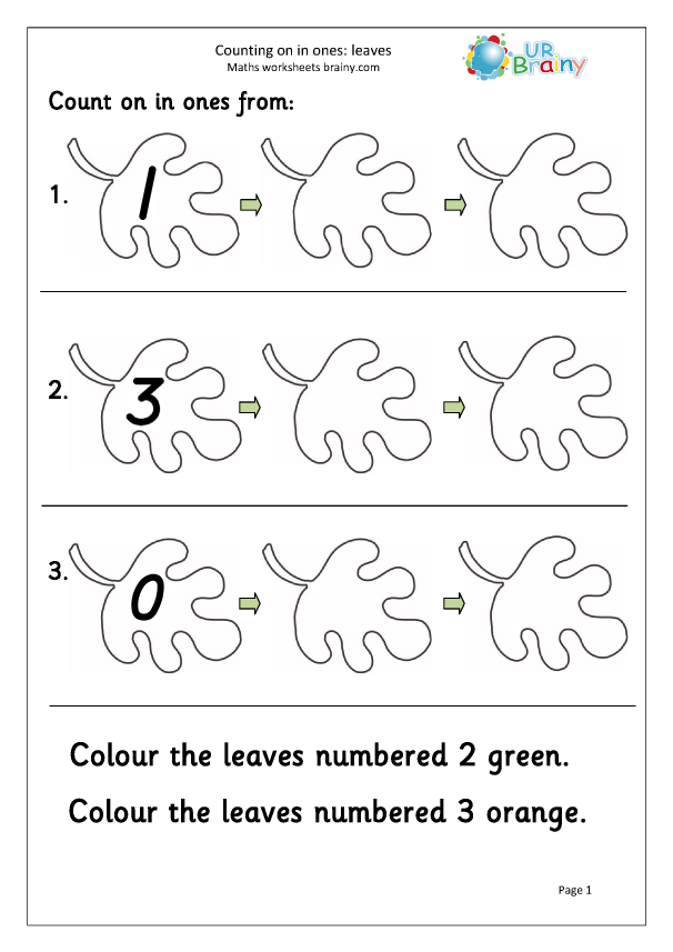 Preview of 'Counting on from - leaves'