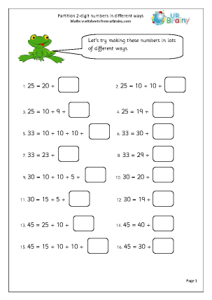 Preview of worksheet Partition 2-digit numbers