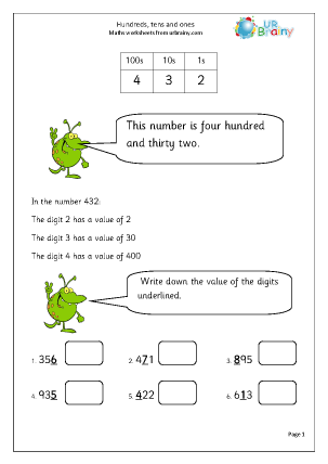 Preview of worksheet Hundreds tens and ones