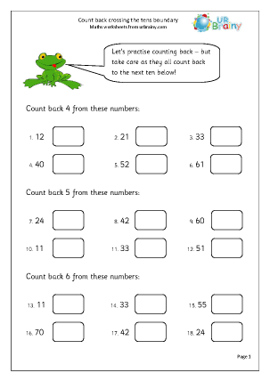Preview of worksheet Count back crossing the tens boundary