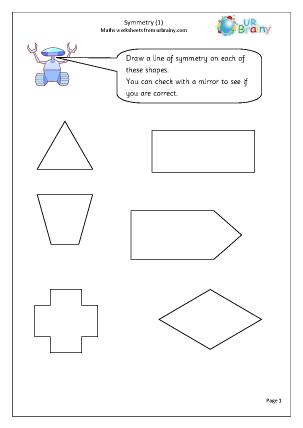 math worksheet : symmetry 1 geometry shape maths worksheets for year 2 age 6 7  : Maths Symmetry Worksheets