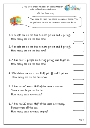 Worksheets Two Step Word Problems Worksheets 2 step word problems addition maths worksheets for year age 6 7 problems