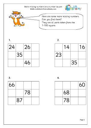 Preview of worksheet More missing numbers on a number square