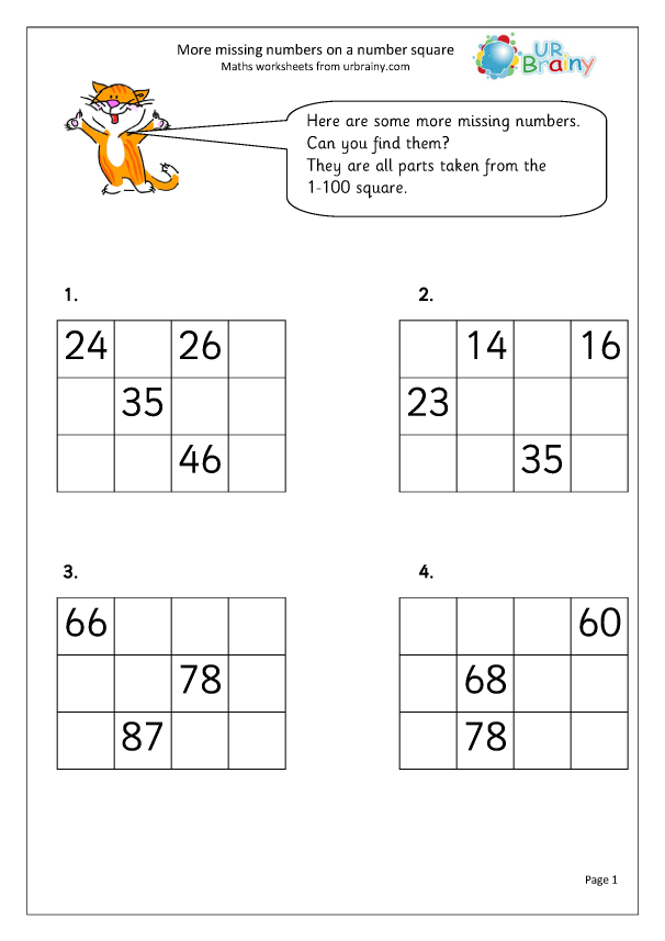 Preview of 'More missing numbers on a number square'