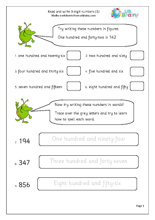 Preview of worksheet Read and write 3-digit numbers (1)