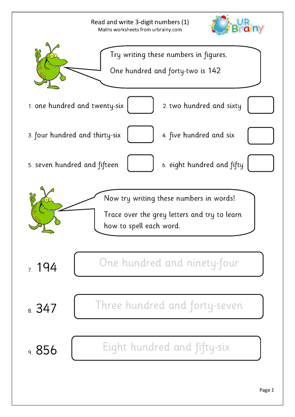 Preview of 'Read and write 3-digit numbers (1)'