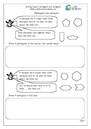 Preview of worksheet Sorting pentagons and hexagons