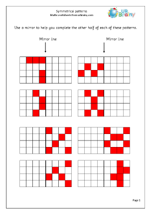 URBrainy Maths Worksheets Year 2 (age 6-7) Measurement Symmetry 2