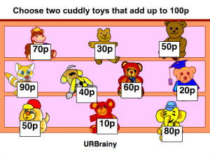 Choose two cuddly toys that add up to 100p