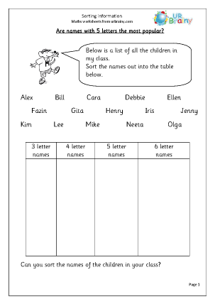 Preview of worksheet Sorting information