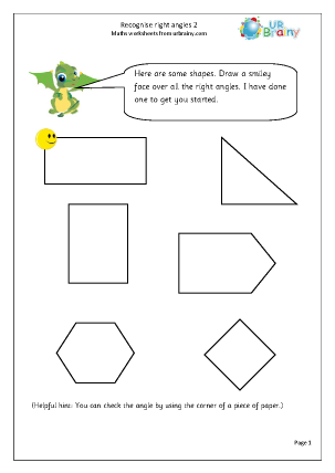 Preview of worksheet Recognise right angles (2)
