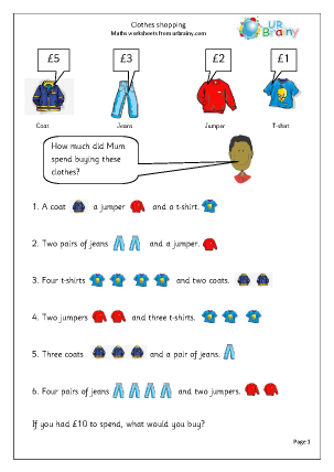 Clothes shopping Money Maths Worksheets For Year 2 (age 6-7)