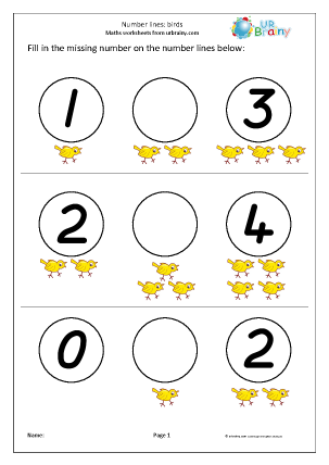 Preview of worksheet Number Lines (3) - Birds