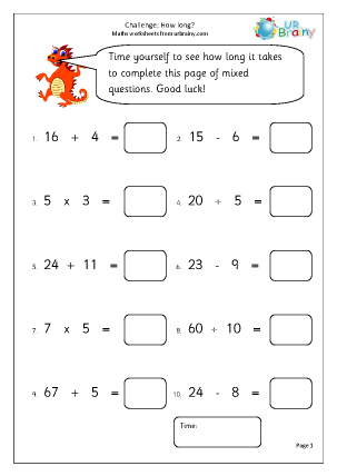 Preview of worksheet How long? Timed challenge