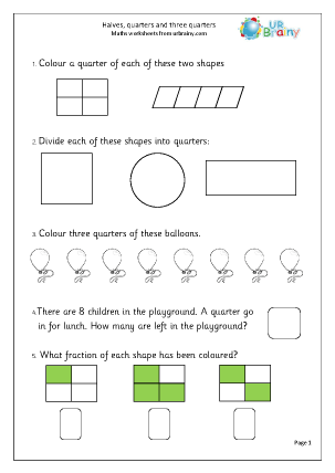 Preview of worksheet Halves, quarters and three quarters