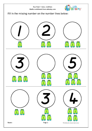 Preview of worksheet Number Lines (3) - Clothes