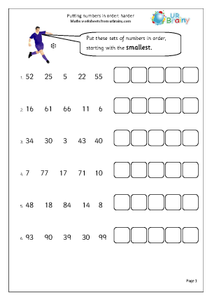 Preview of worksheet Putting numbers in order (harder)
