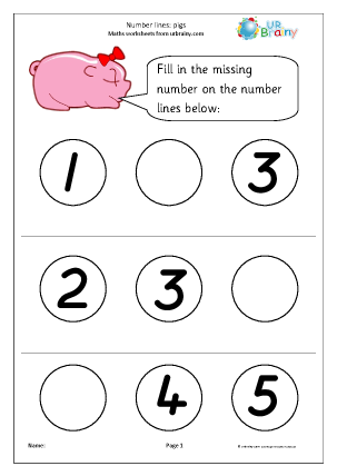 Preview of worksheet Number Lines (3) - Pigs