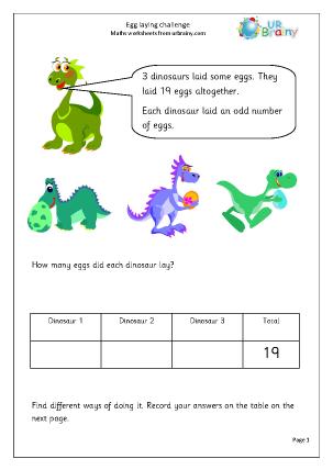 dinosaur egg laying challenge reasoning problem solving maths worksheets for year 3 age 7 8. Black Bedroom Furniture Sets. Home Design Ideas