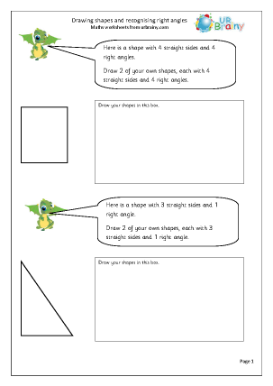Recognise right angles and draw 2D shapes
