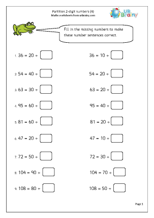 Preview of worksheet Partition 2-digit numbers (4)