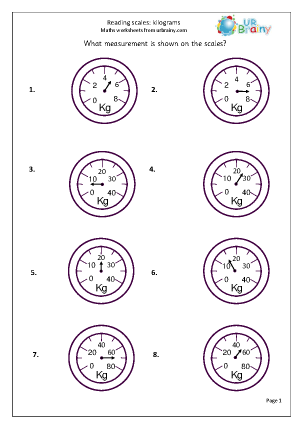 ... (kilos) Shape and measures Maths Worksheets For Year 2 (age 6-7