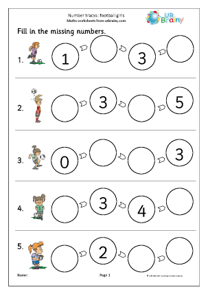 Preview of worksheet Number tracks (4) - football