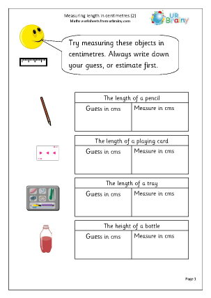 Preview of worksheet Centimetres (2)