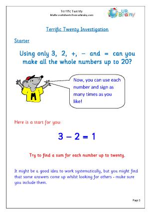 Preview of worksheet Terrific twenty