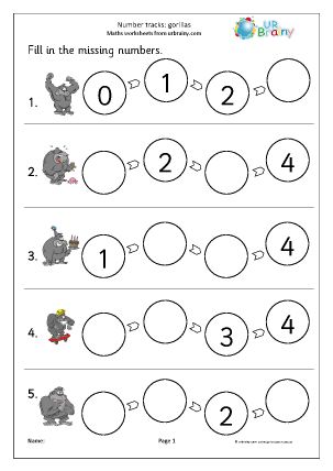 Preview of worksheet Number tracks (4) - gorillas