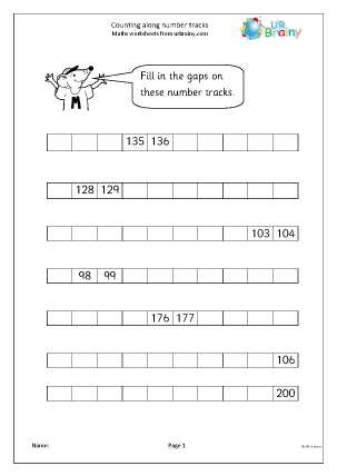 Preview of worksheet Counting along number tracks