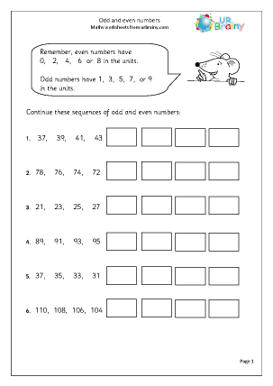 Preview of worksheet Odd and even