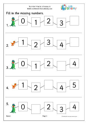 Preview of worksheet Number tracks (5) - dinosaurs