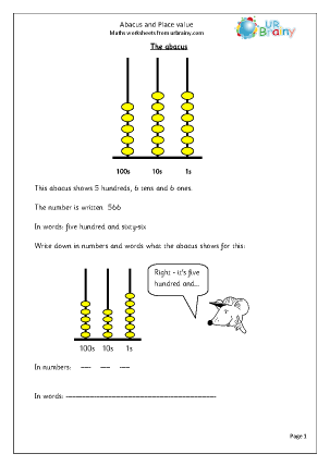 Preview of worksheet  Abacus and place value