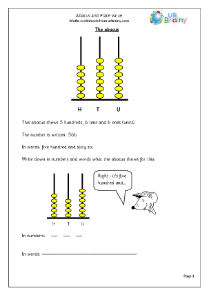 Worksheet Genius - place value abacus worksheets