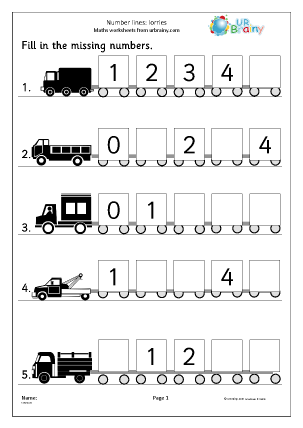 Preview of worksheet Number Lines (5) - Lorries