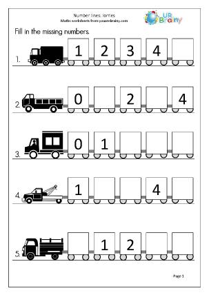 Number Lines (5) - Lorries