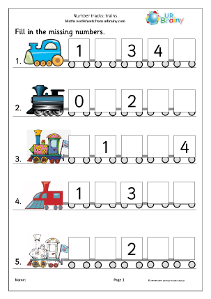 Preview of worksheet Number tracks (5) - trains