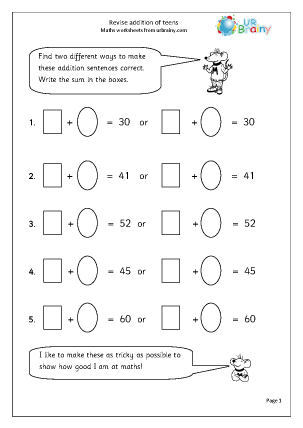 Preview of worksheet Revise understanding addition