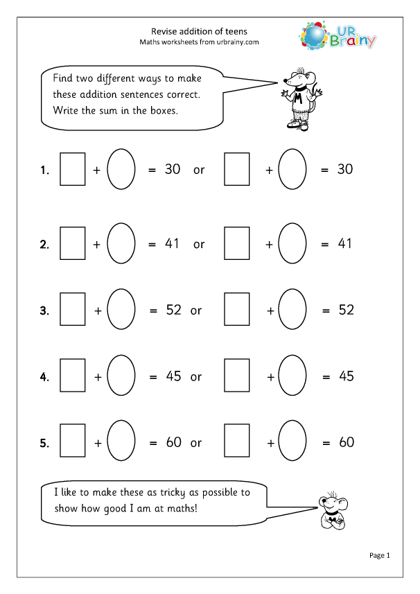 Revise Understanding Addition - Addition Maths Worksheets For Year 3 (age  7-8) By URBrainy.com