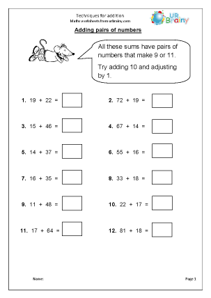Preview of worksheet Techniques for addition