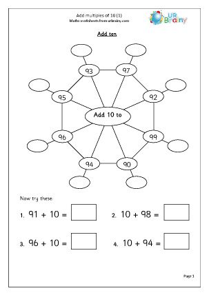 math worksheet : add multiples of 10 1 addition maths worksheets for year 3 age 7 8  : Multiples Worksheets Ks2